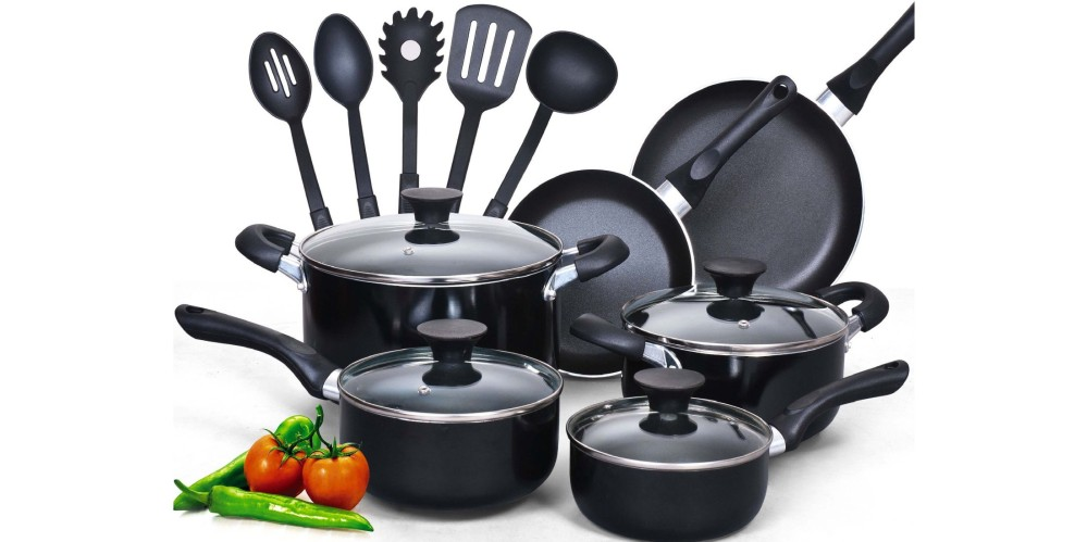 Cook N Home 15 Piece Non-Stick Black Soft handle Cookware Set-01