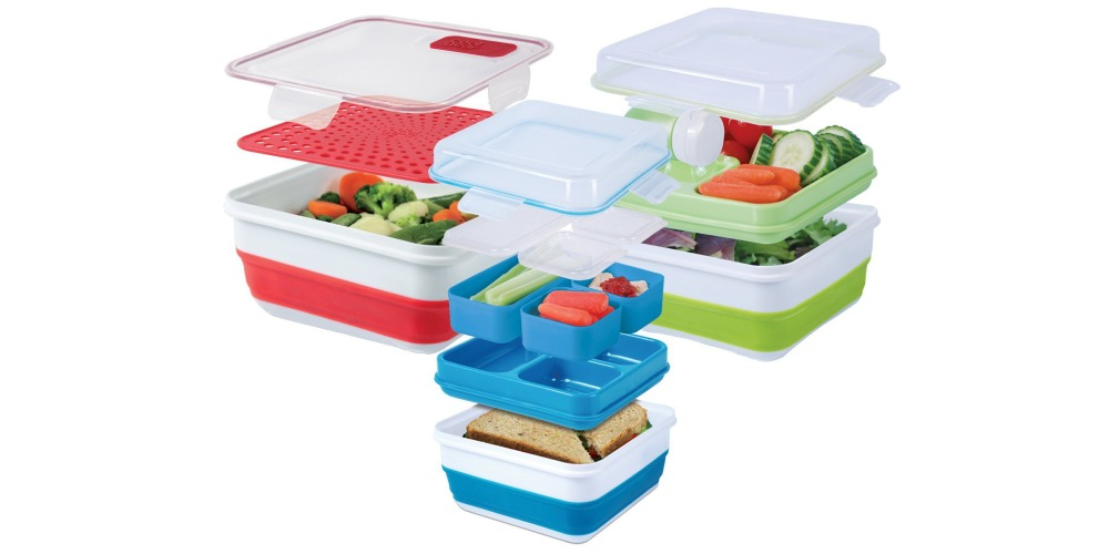 Cool Gear 17-Piece Bento Box, Salad Kit, and Storage:Steamer-01
