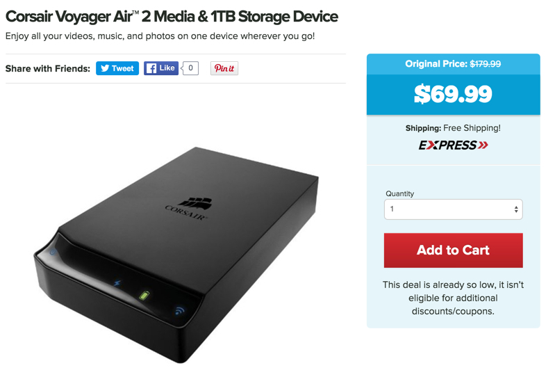 Corsair Voyager Air™ 2 Media & 1TB Storage Device