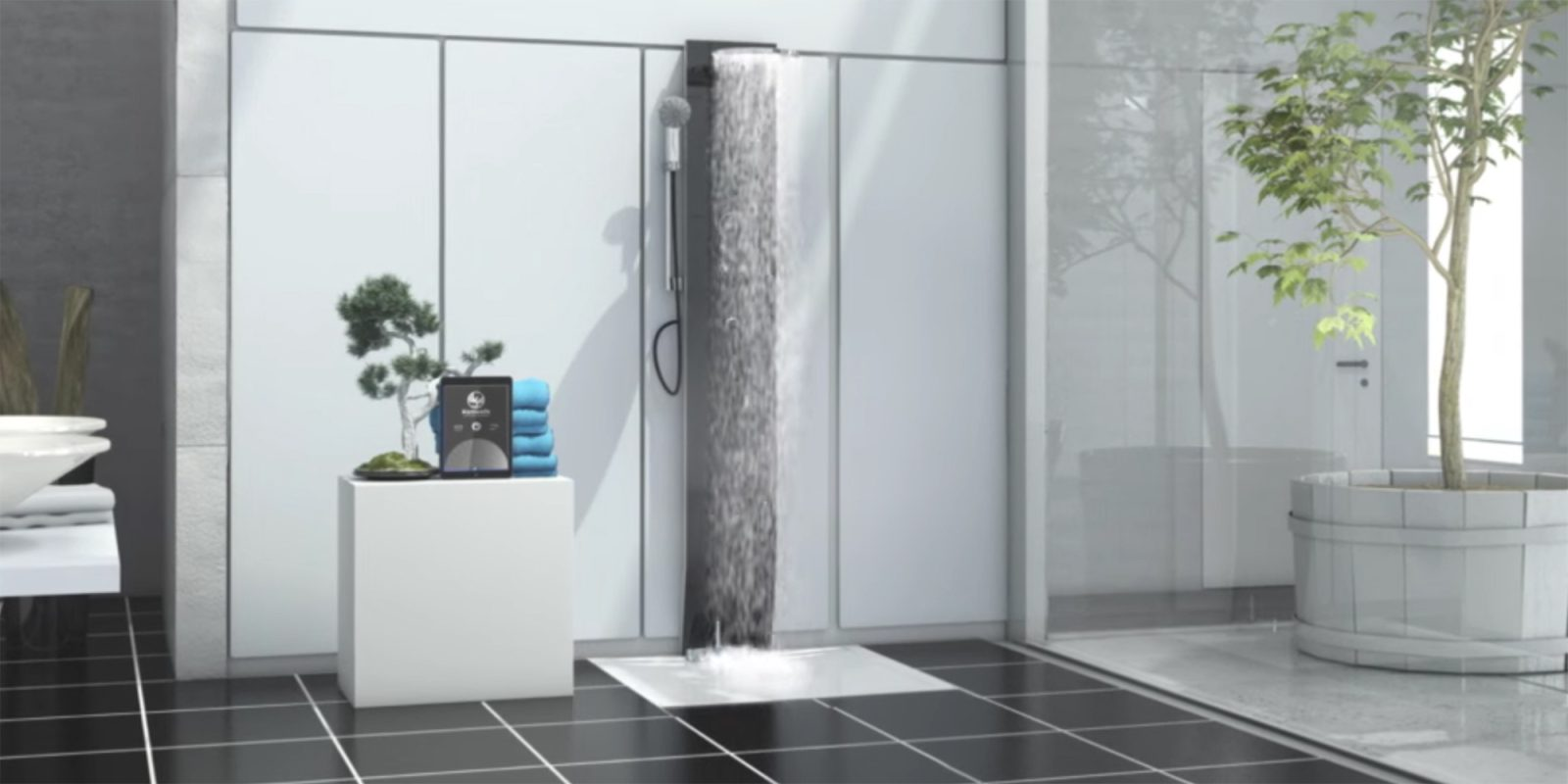 The new iOS-connected Hamwells e-Shower recycles your water with eyes on saving energy