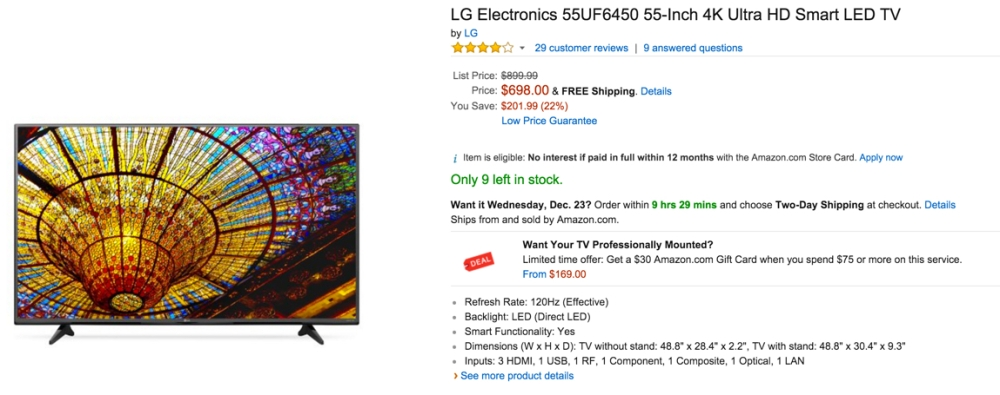 LG Electronics 55UF6450 55-Inch 4K Ultra HD Smart LED TV