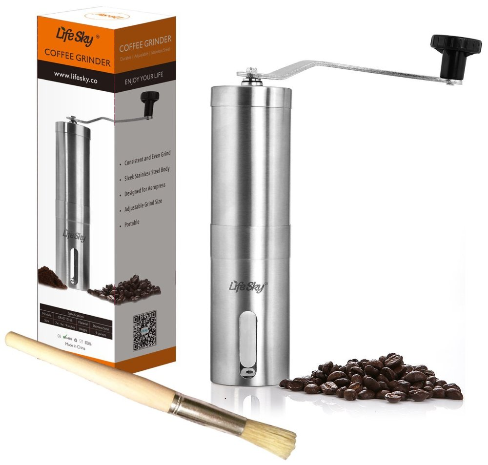 LifeSky Stainless Steel Manual Burr Coffee Grinder-sale-01