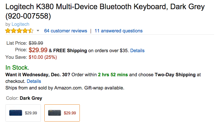 Logitech K380 Multi-Device Bluetooth Keyboard Amazon