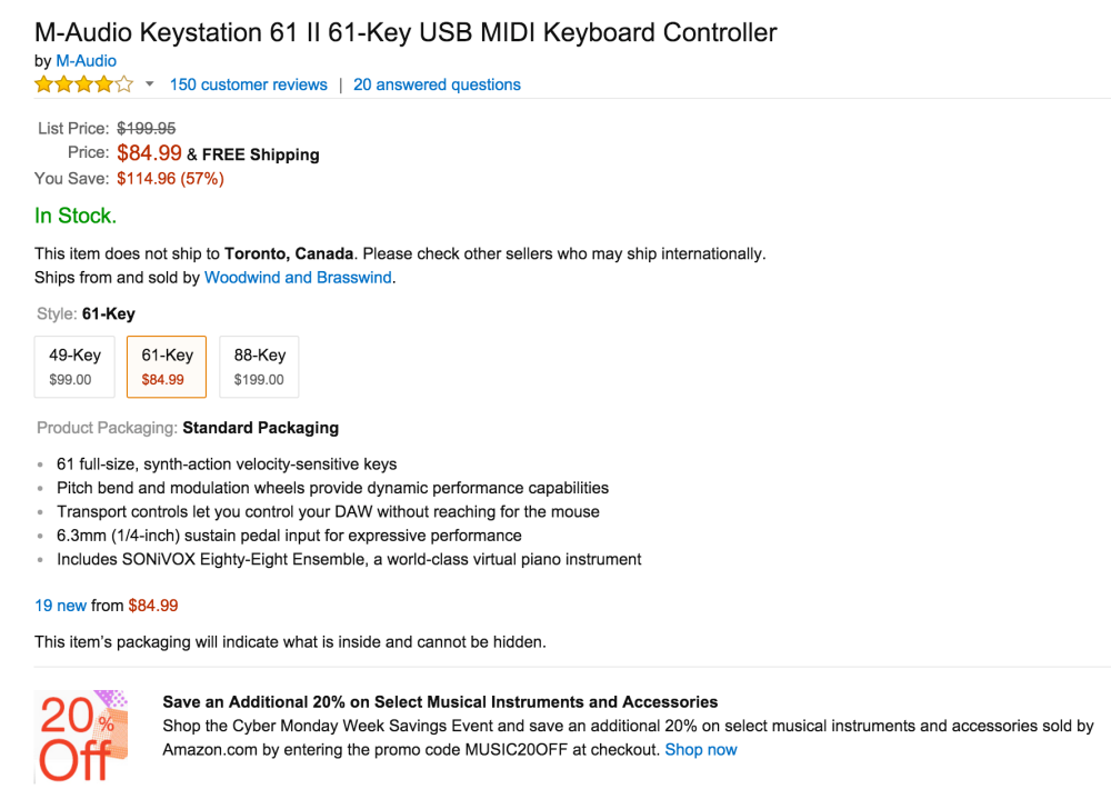 M-Audio Keystation 61 II 61-Key USB MIDI Keyboard Controller-sale-02