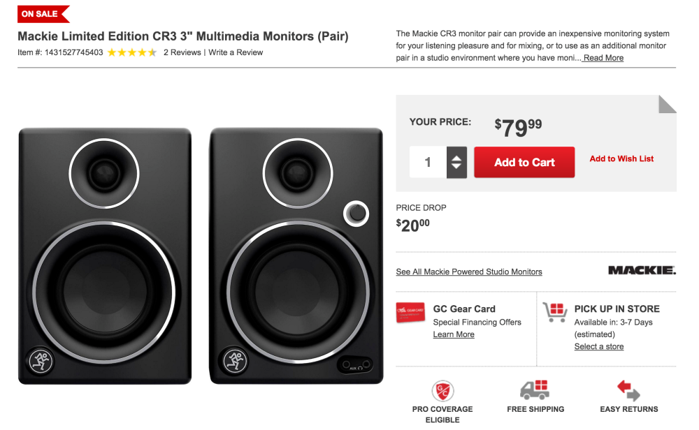 Mackie Limited Edition CR3 3%22 Multimedia Monitors (Pair)-sale-02