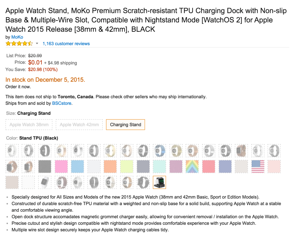 MoKo Premium Scratch-resistant TPU Apple Watch Charging Stand
