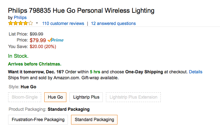 Philips Hue Go Personal Wireless Lighting amazon