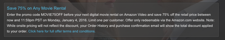 Save on Any Movie Rental Amazon