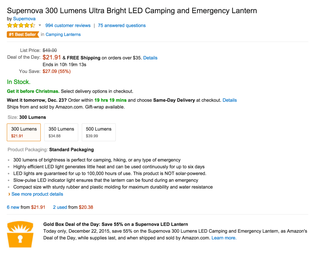 Supernova 300 Lumens Ultra Bright LED Camping and Emergency Lantern-4