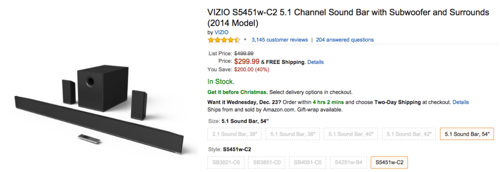 VIZIO Sound Bar with Subwoofer Amazon