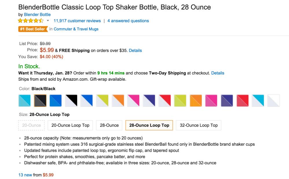 28-Ounce BlenderBottle Classic Loop Top Shaker Bottle-2