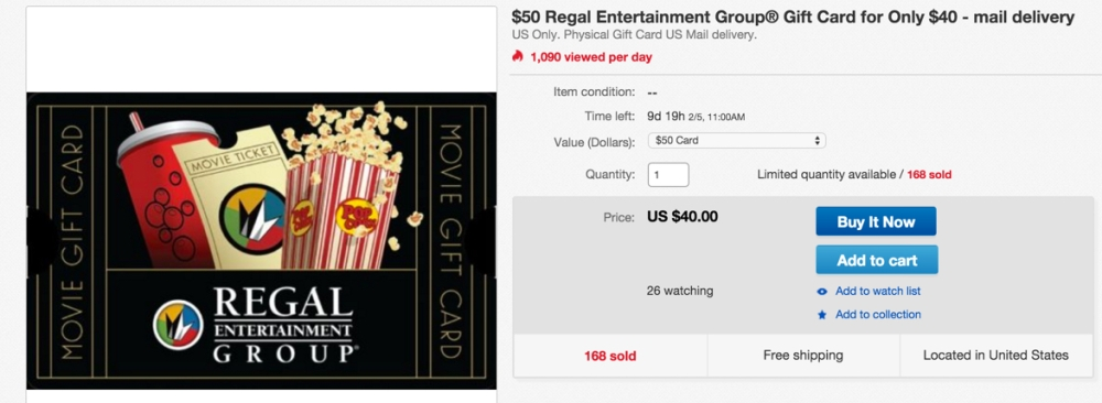 $50 regal card for $40