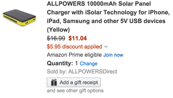 ALLPOWERS 10000mAh Solar Panel Charger with iSolar Technology for iPhone, iPad, Samsung