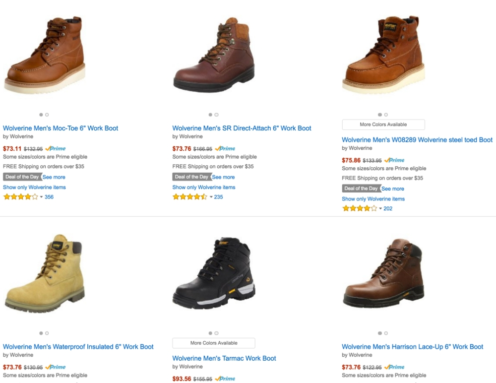 Amazon Gold Box - Wolverine work boots 40% off or more