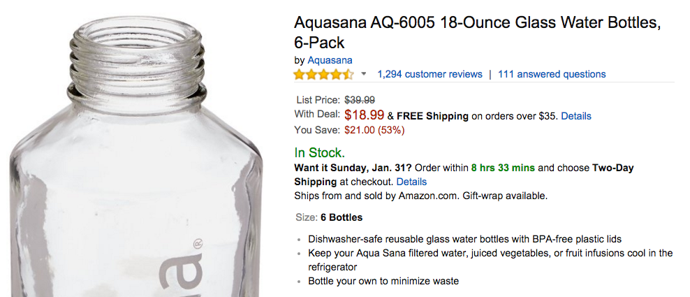 Aquasana AQ-6005 18-Ounce Glass Water Bottles Amazon