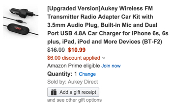 Aukey Wireless FM Transmitter Radio Adapter Car Kit