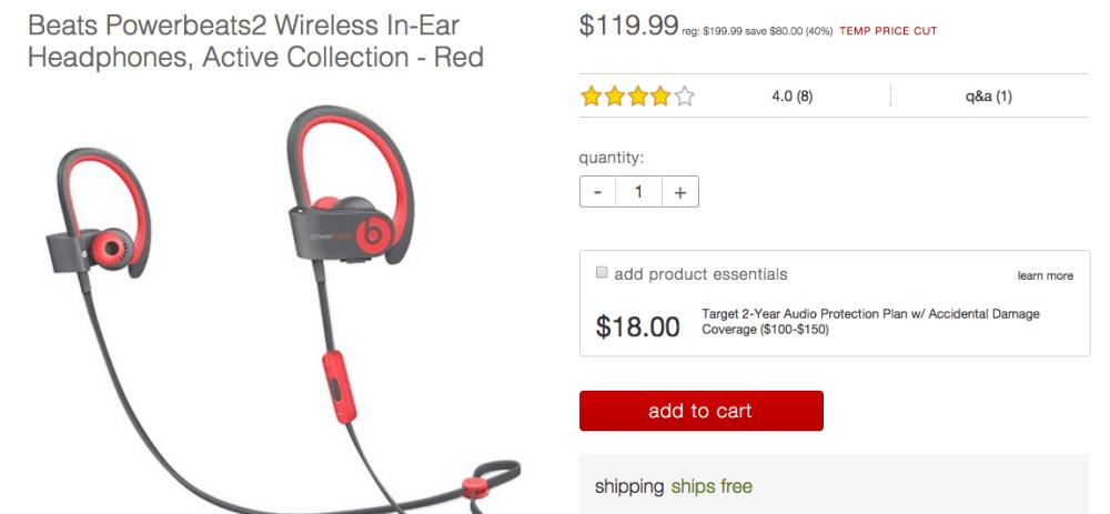 Beats Powerbeats2 Wireless In-Ear Headphones, Active Collection - Red