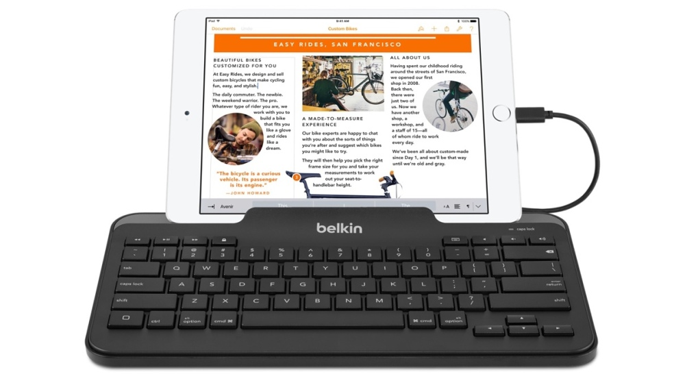 Belkin Apple MFi Certified Wired Tablet Keyboard with Stand