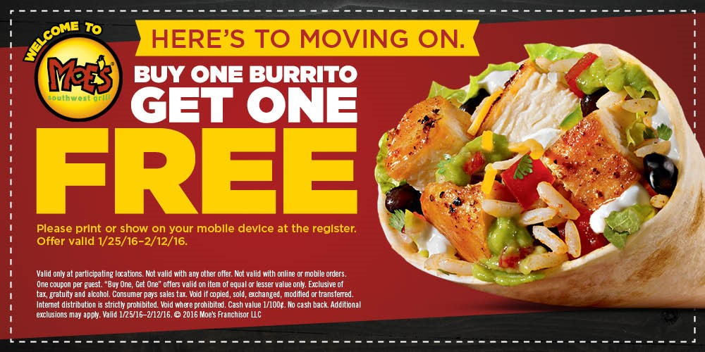 Buy One Get One Free burrito promotion