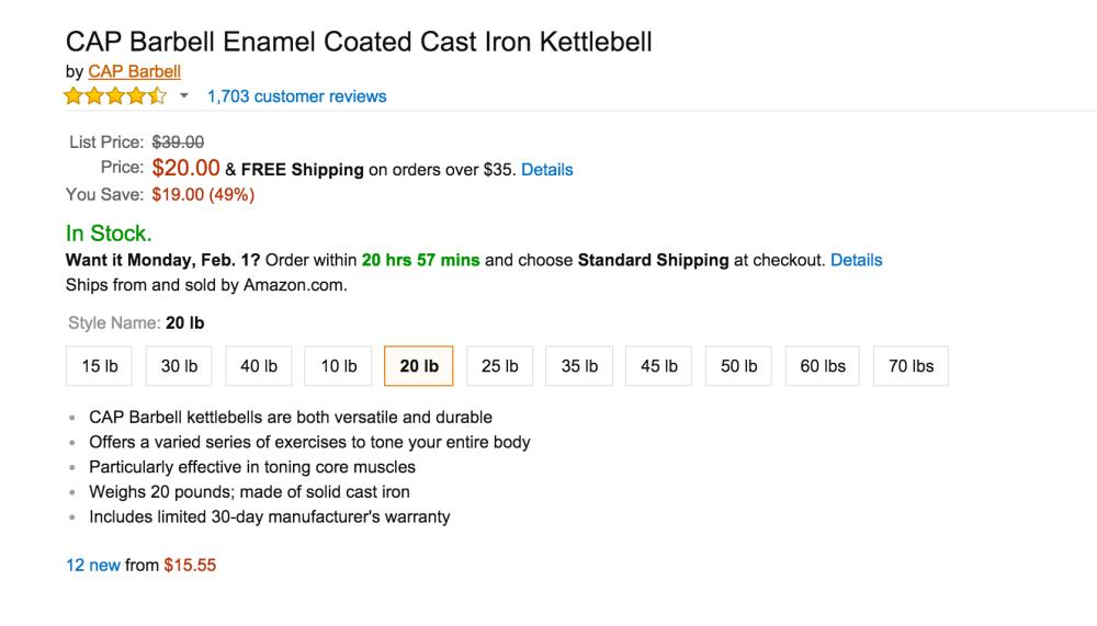 CAP Enamel Coated Cast Iron Kettlebells-3