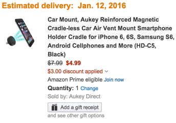 Car Mount, Aukey Reinforced Magnetic Cradle-less Car Air Vent Mount Smartphone Holder discount amazon
