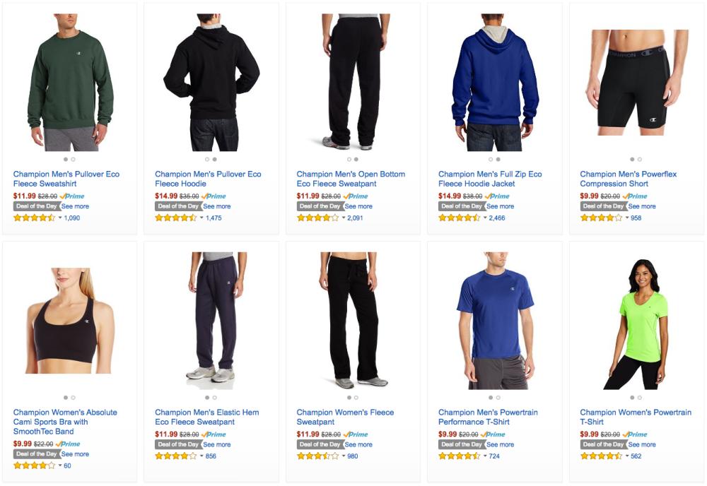 63a335b2ba0f0 Amazon Gold Box - Champion activewear 50%+ off: zip hoodie $15 ...