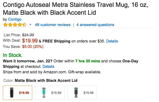 Contigo Autoseal Metra Stainless Travel Mug Amazon