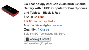 EC Technology 2nd Gen 22400mAh External Battery with 3 USB Outputs for Smartphones and Tablets - Black & Red