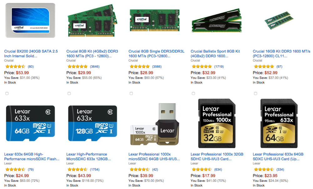 Gold Box Deal of the Day Up to 70% Off Select Crucial and Lexar Memory