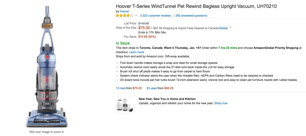 Hoover T-Series WindTunnel Pet Rewind Bagless Upright Vacuum (UH70210)-3