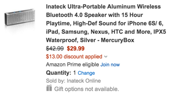 Inateck Ultra-Portable Aluminum Wireless Bluetooth 4.0 Speaker