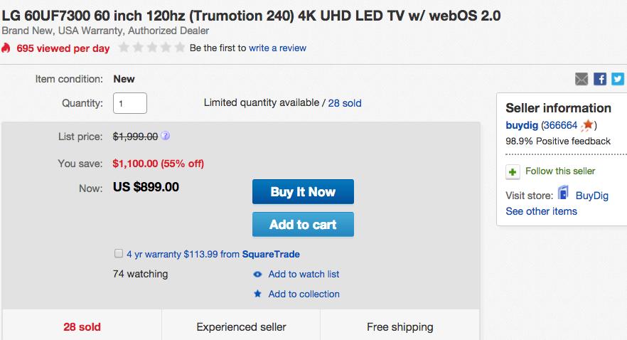 LG 60 inch 4K UHD LED TV eBay