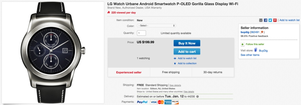 LG Watch Urbane Android Smartwatch gold or silver