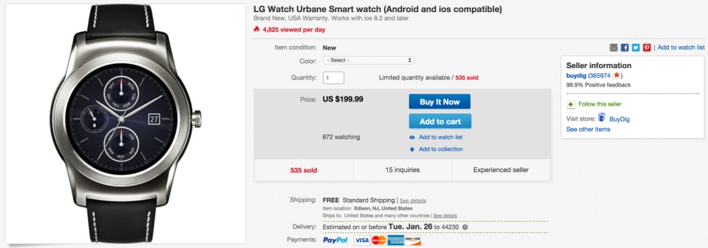 LG Watch Urbane Android Smartwatch in Silver or Gold