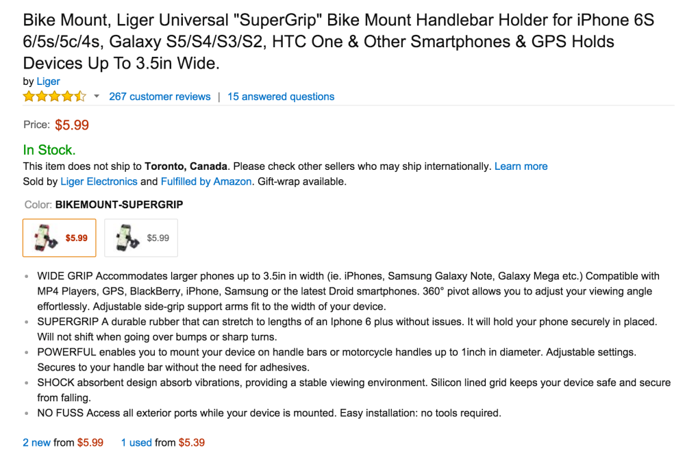 Liger Universal %22SuperGrip%22 Bike Mount Handlebar Holder for iPhone 6S, Galaxy devices-4