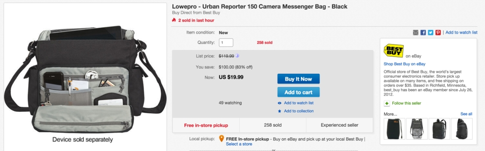 Lowepro - Urban Reporter 150 Camera Messenger Bag - Black