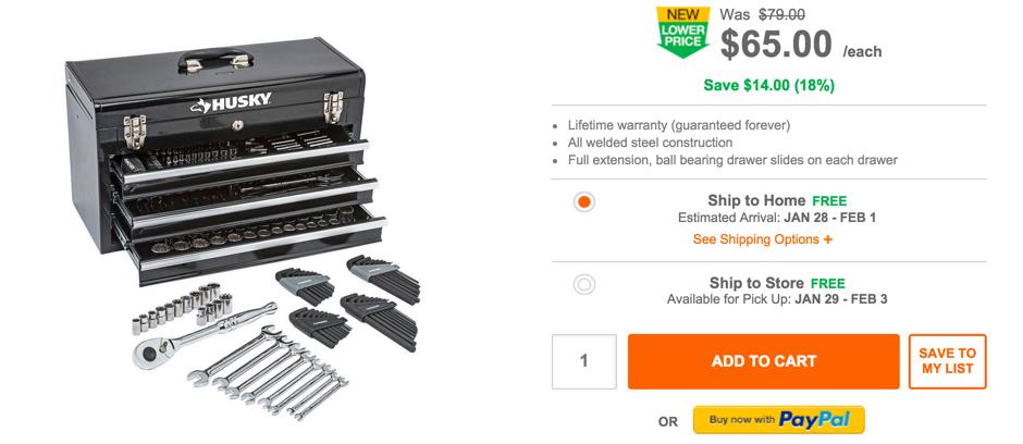 Mechanics Tool Set in Metal Box