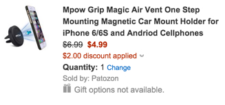 Mpow Grip Air Vent One Step Mounting Magnetic Car Mount