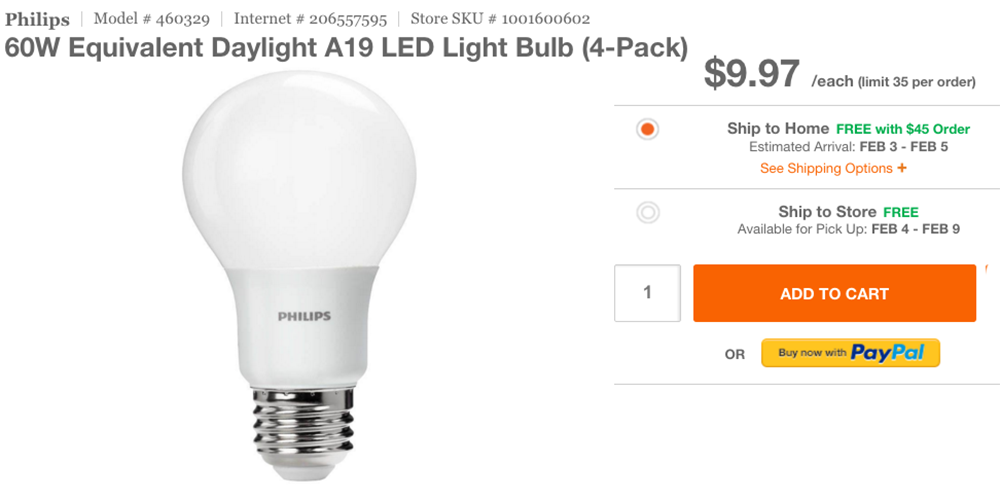 Philips 8.5-Watt LED A19 household light bulb