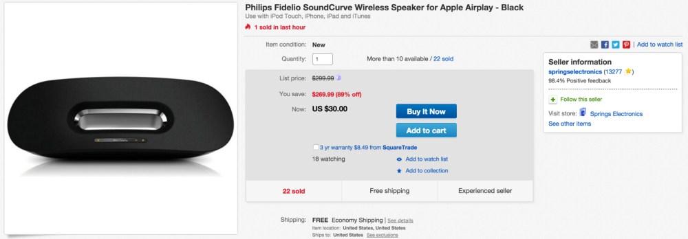 Philips Fidelio SoundCurve Wireless Speaker for Apple Airplay