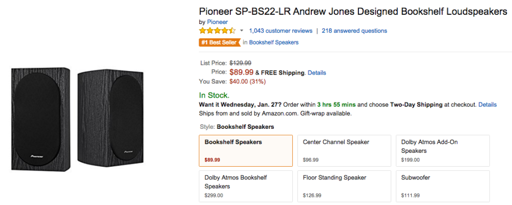 Pioneer SP BS22 LR Andrew Jones Designed Bookshelf Loudspeakers Amazon