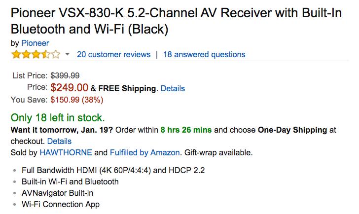 Pioneer VSX-830-K 5.2-Channel AV Receiver Amazon