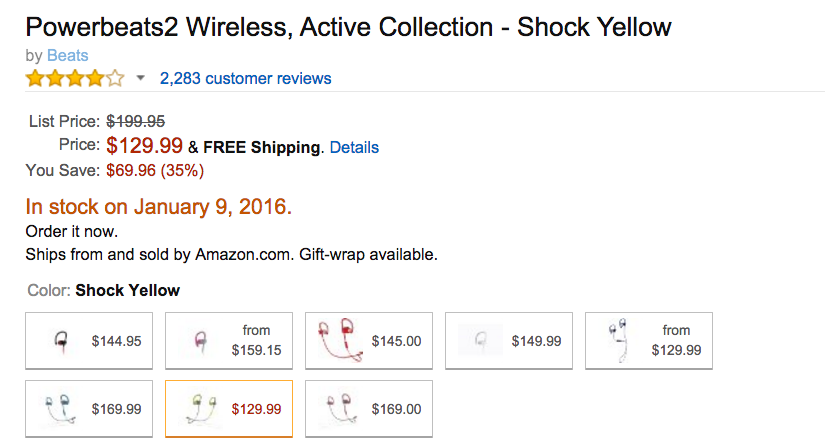 Powerbeats2 Wireless, Active Collection - Shock Yellow