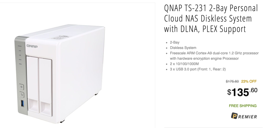 QNAP TS-231 2-bay Personal Cloud NAS with PLEX, DLNA, Mobile Apps