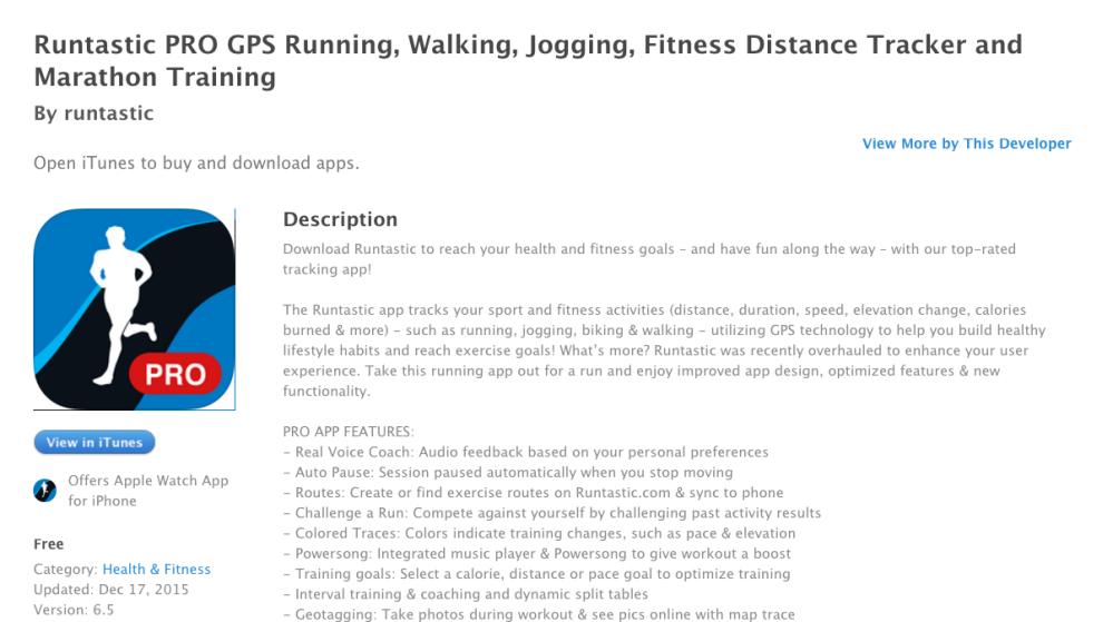 Runtastic PRO GPS iTunes