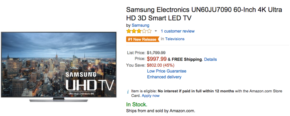Samsung Electronics 60-Inch 4K Ultra HD 3D Smart LED TV Amazon