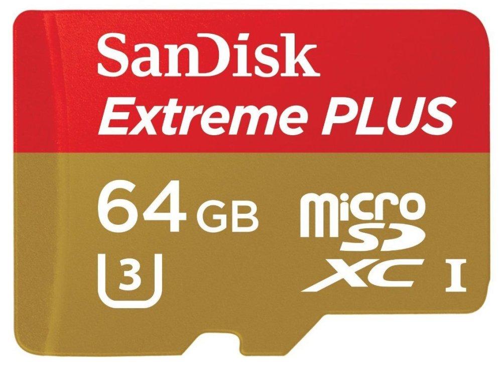 SanDisk - Extreme PLUS 64GB microSDXC UHS-I Class U-1 Memory Card - Red:Gold