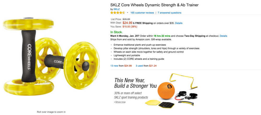 SKLZ Core Wheels Dynamic Strength & Ab Trainer-3