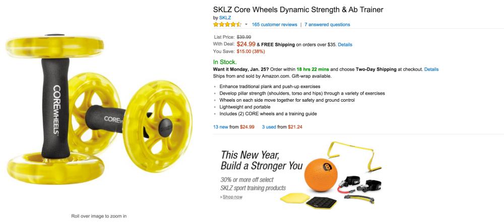 SKLZ Core Wheels Dynamic Strength & Ab Trainer-3