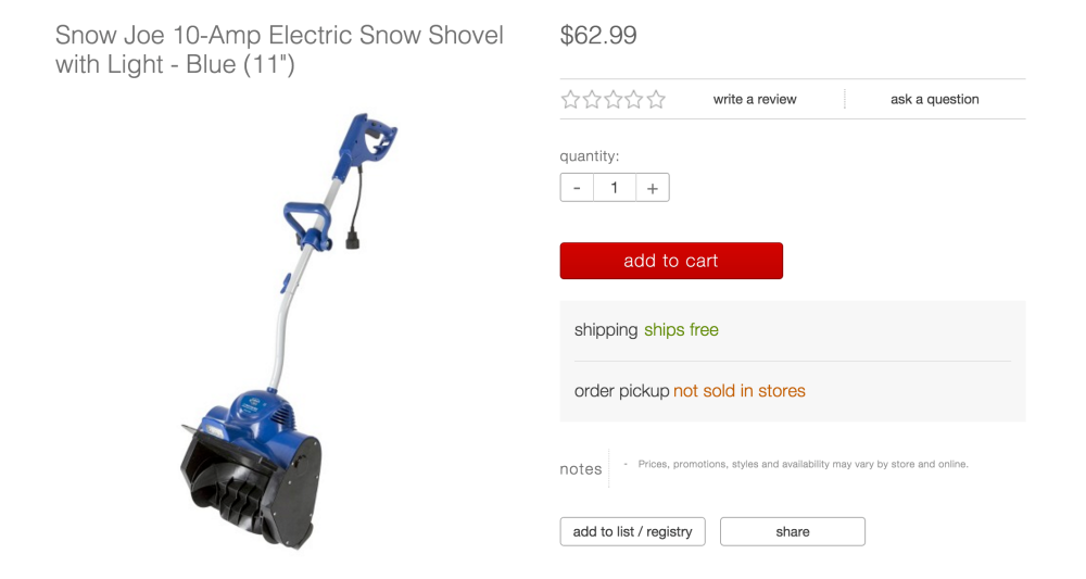 Snow Joe 10-Amp Electric Snow Shovel with Light in blue-2